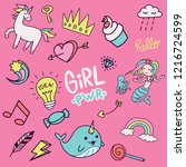 set of colorful girly doodle... | Shutterstock .eps vector #1216724599