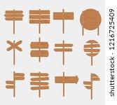 wooden signboards arrow sign... | Shutterstock . vector #1216725409