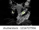 cat face raster black and white ... | Shutterstock . vector #1216727506
