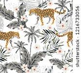 tropical leopard animals ... | Shutterstock .eps vector #1216733056