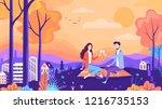 lovely autumn picnic couple in... | Shutterstock .eps vector #1216735153