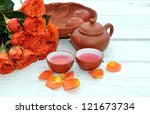 a concept of rose and teapot on ... | Shutterstock . vector #121673734