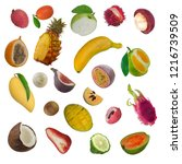set of exotic fruit isolated on ... | Shutterstock . vector #1216739509