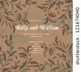 wedding card or invitation with ... | Shutterstock .eps vector #121674040