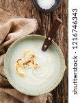 fresh homemade cream of... | Shutterstock . vector #1216746343