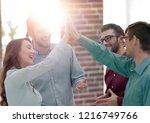 happy creative business people... | Shutterstock . vector #1216749766