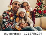 christmas family. happiness.... | Shutterstock . vector #1216756279