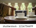 coffee cups on coffee table...   Shutterstock . vector #1216756699