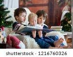 three children  boy brothers ... | Shutterstock . vector #1216760326