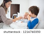 mother and baby in pajamas ...   Shutterstock . vector #1216760350
