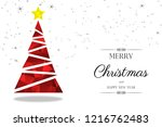 red christmas tree greeting... | Shutterstock . vector #1216762483