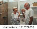 cropped shot of a senior couple ... | Shutterstock . vector #1216768090