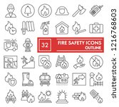 fire safety thin line icon set  ...   Shutterstock .eps vector #1216768603