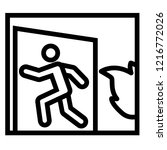 emergency exit line icon. fire... | Shutterstock .eps vector #1216772026