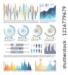infographics and pie diagrams... | Shutterstock .eps vector #1216779679