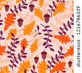 seamless pattern with acorns... | Shutterstock .eps vector #1216786339