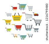 shopping cart icons set in flat ... | Shutterstock . vector #1216795480