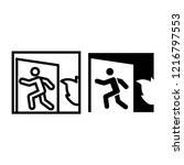 emergency exit line and glyph... | Shutterstock .eps vector #1216797553