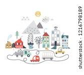 cartoon city print. childish... | Shutterstock .eps vector #1216798189