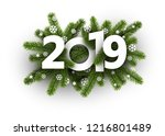 white 2019 background with fir... | Shutterstock .eps vector #1216801489