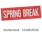 spring break sign or stamp on... | Shutterstock .eps vector #1216819210