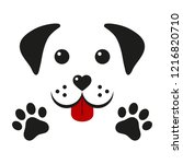 dog muzzle with paws on a white ...   Shutterstock . vector #1216820710