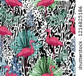 flamingo and tropical leaves on ... | Shutterstock .eps vector #1216825186