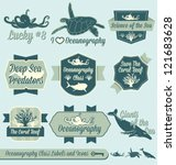 Vector Set: Vintage Oceanography Class Labels and Icons