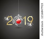 happy new year 2019 christmas... | Shutterstock .eps vector #1216847923