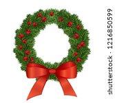 christmas wreath. beautiful... | Shutterstock . vector #1216850599