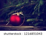 christmas background with red...   Shutterstock . vector #1216851043