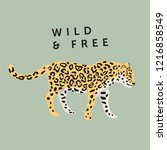 tropical leopard animal   green ... | Shutterstock .eps vector #1216858549
