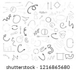 linear shapes on white. chaos... | Shutterstock . vector #1216865680
