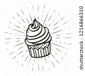 doodle cupcake with scroll and... | Shutterstock .eps vector #1216866310