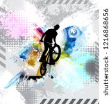 silhouette of a bicycle rider.   Shutterstock .eps vector #1216868656
