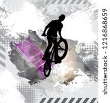 silhouette of a bicycle rider. | Shutterstock .eps vector #1216868659