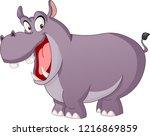 cartoon cute hippo. vector...