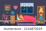 the girl sleeps in the children'... | Shutterstock .eps vector #1216872019