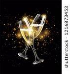 sparkling glasses of champagne... | Shutterstock .eps vector #1216873453