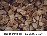 wooden logs  beams  firewood ... | Shutterstock . vector #1216873729
