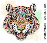 patterned head of the roaring... | Shutterstock .eps vector #1216878106