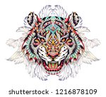 patterned head of the roaring... | Shutterstock .eps vector #1216878109