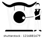 male avatar playing a gong.... | Shutterstock .eps vector #1216881679