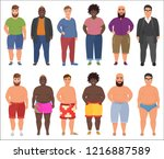fat man in casual and summer... | Shutterstock .eps vector #1216887589