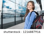 pretty young female student on... | Shutterstock . vector #1216887916