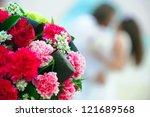kissing wedding couple a... | Shutterstock . vector #121689568