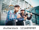 two friends looking extremely... | Shutterstock . vector #1216898989