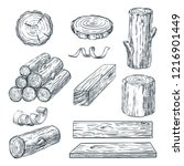 wood logs  trunk and planks ... | Shutterstock .eps vector #1216901449