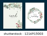 happy holidays card template... | Shutterstock .eps vector #1216915003