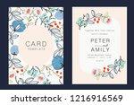 wedding invitation  floral... | Shutterstock .eps vector #1216916569